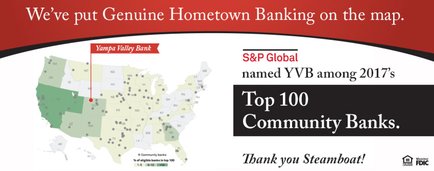 S&P Global named YVB among 2017's Top 100 Community Banks.