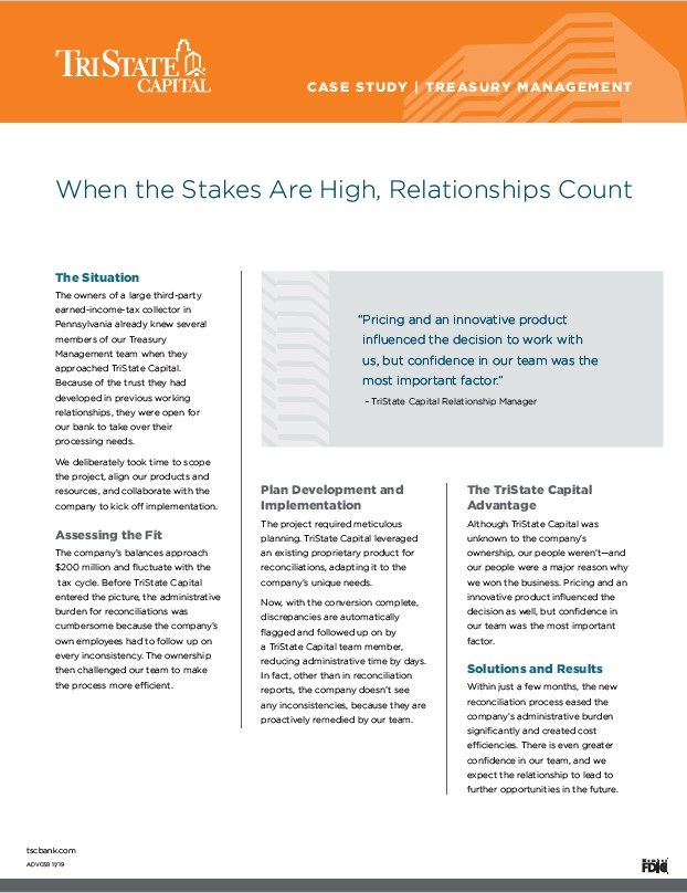 Treasury Management Case Study: Relationships Count